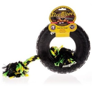 TireBiter Paw Track Rubber Dog Toy with Cotton Rop